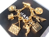 SUPER LARGE CHANEL VINTAGE CHARM CHAIN BRACELET 80's