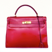 HERMES KELLY BAG 32 BOX CALF ROUGE H RETOURNE
