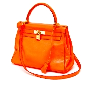 HERMES KELLY BAG 28 VEAU SWIFT ORANGE RETOURNE